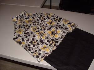 Black Linen Straight Skirt